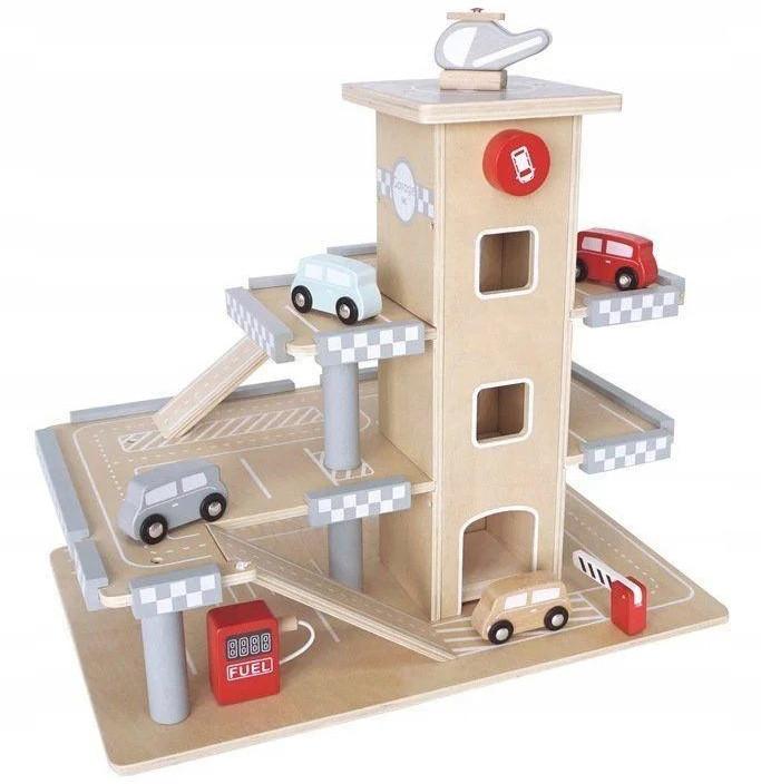 Детский деревянный автотрек с лифтом и машинками EcoToys 12104 для детей