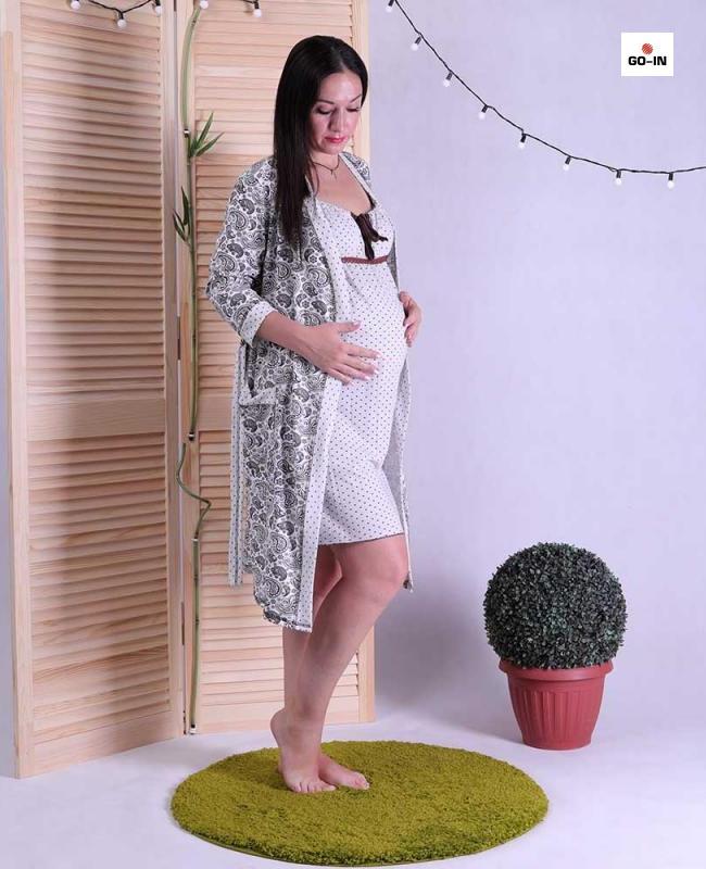 Женский комплект халат с ночной серый р.42-54
