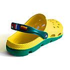 Мужские кроксы сабо из пены ЭВА,  42, 43, 45, 46 шлепанцы сабо желтые с зеленым., фото 3