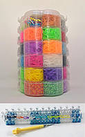 Набор резинок для плетения браслетов 16000 резиночек 6 ярусов Цветок с профессиональным станком