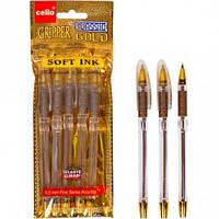 Ручка масляная 936 Classic Cello золото синяя