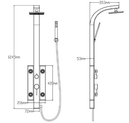 QT Душевая панель 1102 BLA, фото 2