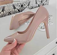 Туфлі лодочки жіночі на каблуку шпильці екошкіра лакована 37