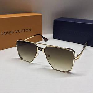 Чоловічі окуляри авіатори Louis Vuitton Коричневі з градієнтом AAA Copy