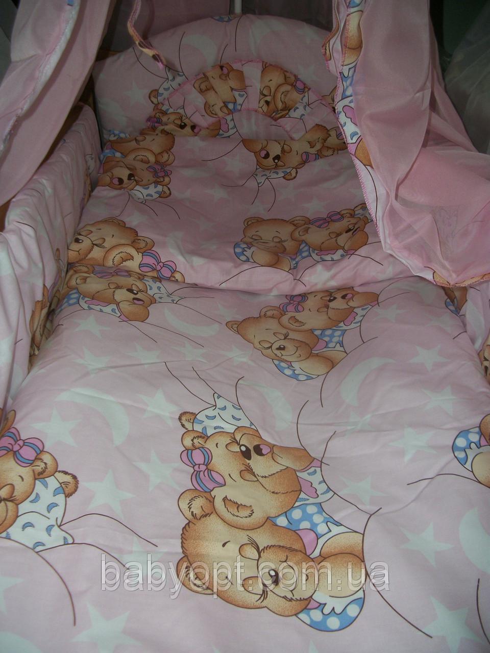 Постельное бельё в детскую кроватку Baby мишки спят розовое. 6  эл. .