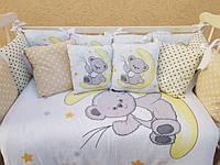 Набор детского постельного белья в кроватку ТМ Bonna Elite 9 в 1 Принт Мишка на луне