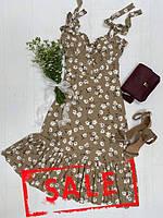 Льняное летнее женское платье, коричневое с цветочным принтом, Perla, размеры S-L