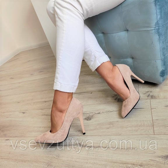 Туфли бежевые лодочки женские на каблуке шпильке екозамша 37р