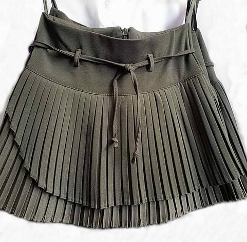 Плиссированная расклешенная школьная юбка с пояском, фото 2