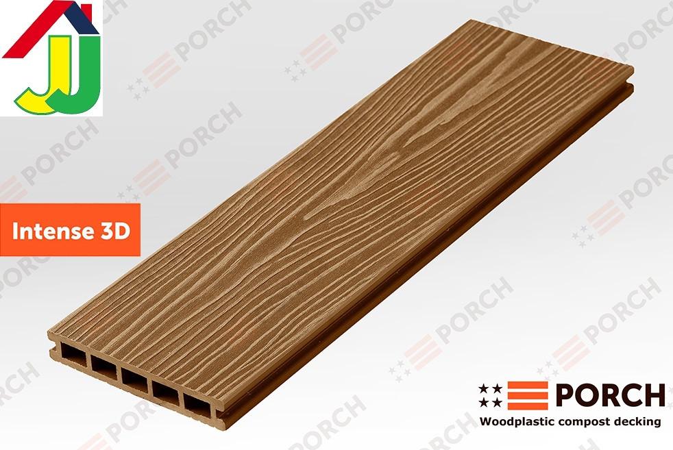 Террасная доска Porch Intense Teak 3D 3000x150x24, композитная, дерево-полимерная доска, для террасы,веранды