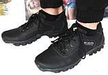 Мужские кожаные чёрные  кроссовки  треккинговая подошва, фото 2