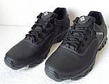Мужские кожаные чёрные  кроссовки  треккинговая подошва, фото 6
