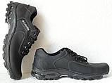 Мужские кожаные чёрные  кроссовки  треккинговая подошва, фото 8