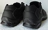 Мужские кожаные чёрные  кроссовки  треккинговая подошва, фото 9