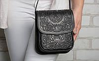 Маленькая кожаная сумочка, чёрная женская сумка через плечо, тисненая кожа, ручная работа, фото 1
