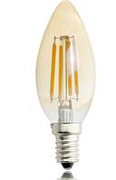 Светодиодная лампа свеча Filament 4Вт Е14 C37 золото 2200K, фото 1