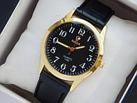 Мужские (Женские) кварцевые наручные часы Rolex на кожаном ремешке, фото 1