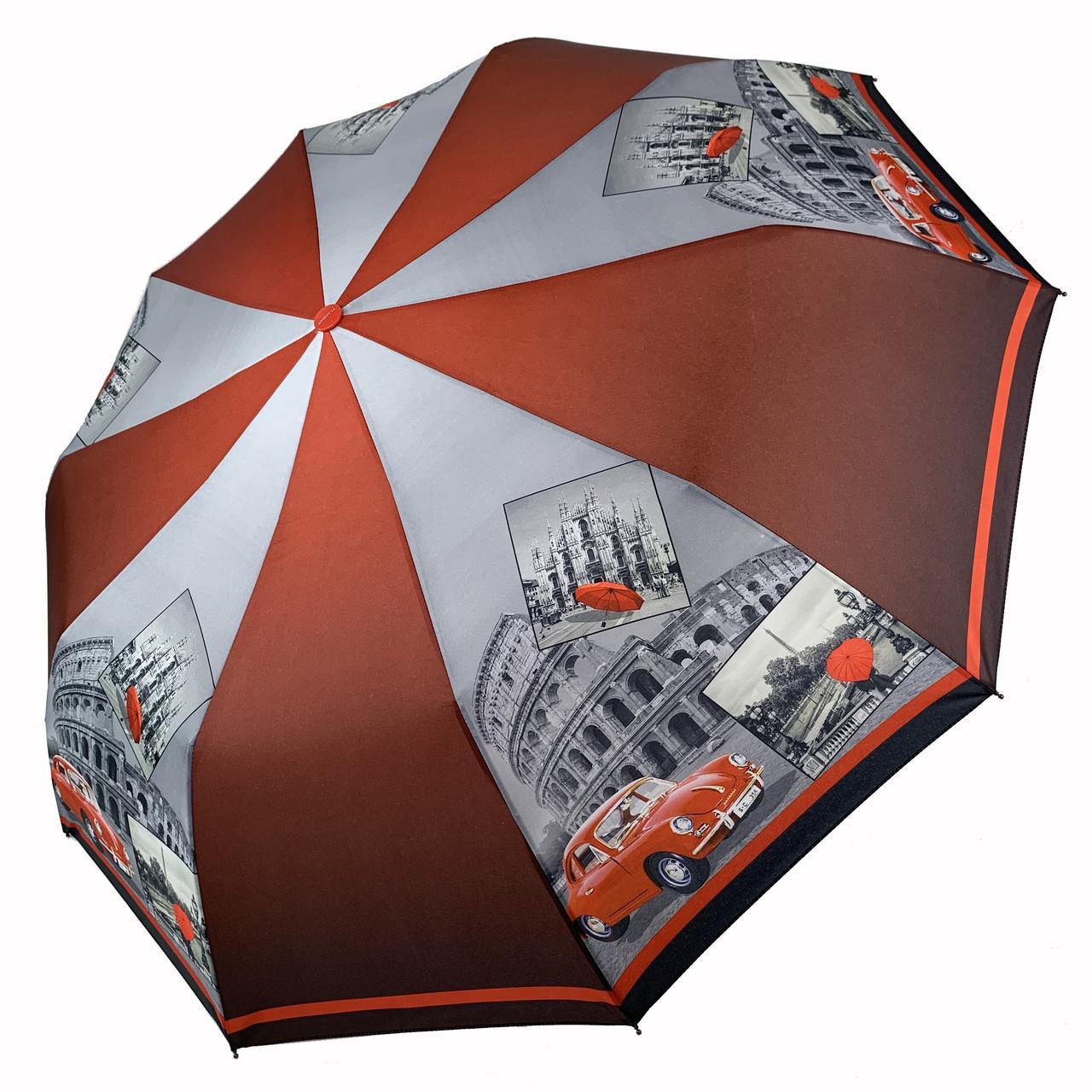 Женский складной зонт-полуавтомат c принтом Колизея от Flagman, красный, 509-3