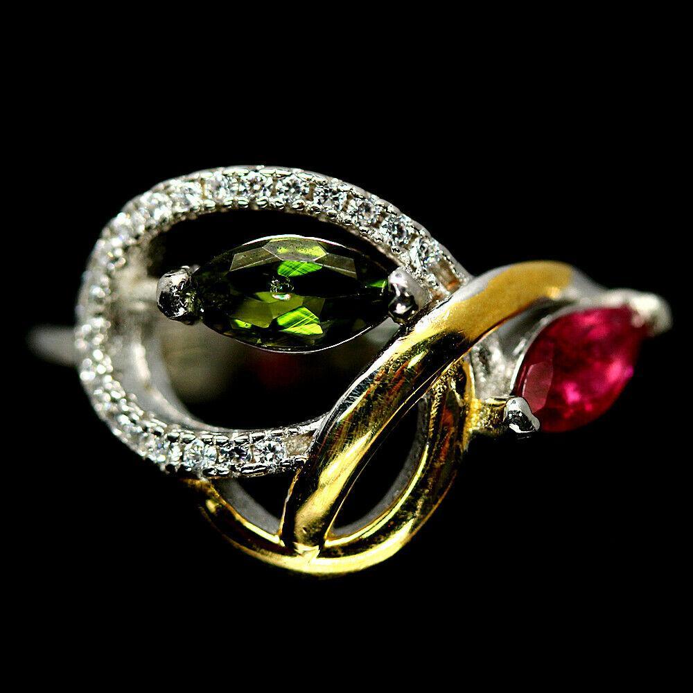 Серебряное кольцо с разноцветным турмалином, 2386КЦТ