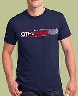 Темно-синяя мужская футболка «ATHLETIC NY» / Коллекция 2019 / Ширина футболки 53 см / Акция