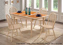 Стол обеденный раскладной с керамической плиткой СТ364560 цвет беленый дуб, Малайзия