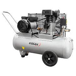 Компрессор двухцилиндровый ременной 2.5кВт 335л/мин 10бар 50л (2 крана) SIGMA (7044121)