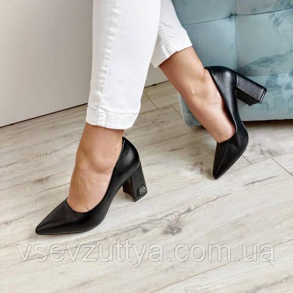 Туфли черные женские на каблуке экокожа 36р