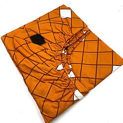 "Простирадло помаранчева в клітину на гумці для матраца 140х200х22 з бязі Голд ""Оранж"""