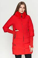 Стильная зимняя куртка-пуховик красного цвета Kiro Tokao