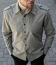 Мужская рубашка хаки с погонами, фото 4