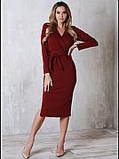 Сукня з поясом Француз в кольорі бордо