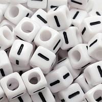 """Бусины Акриловые Буква """"I"""",Кубики, Цвет: Белый, Размер: 6х6х6мм, Отверстие 3.2мм, около 130шт/25г, (БА000000355)"""