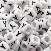 """Бусины Акриловые Буква """"Y"""",Кубики, Цвет: Белый, Размер: 6х6х6мм, Отверстие 3.2мм, около 130шт/25г, (БА000000353)"""