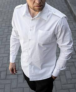 Чоловіча сорочка біла з погонами