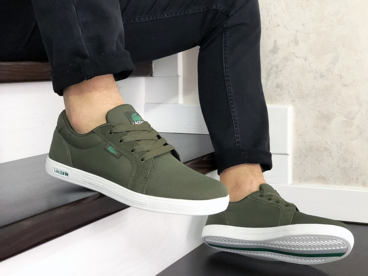 Мужские кроссовки,кеды Lacoste,текстиль,темно зеленые