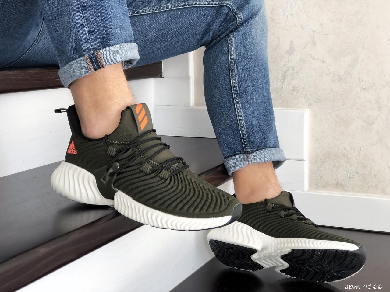 Мужские демисезонные кроссовки Adidas,текстиль,темно зеленые
