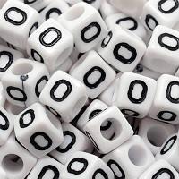 """Бусины Акриловые Буква """"О"""",Кубики, Цвет: Белый, Размер: 6х6х6мм, Отверстие 3.2мм, около 130шт/25г, (БА000000354)"""