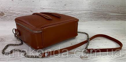 68-5 Натуральная кожа, Сумка женская кросс-боди рыжая Кожаная сумка женская из натуральной кожи рыжая, фото 3