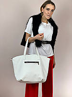 Сумка шоппер женская большая стильная из экокожи белая