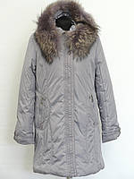 Светло серое женское зимнее пальто