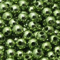 Бусины Акриловые UV Покрытие, Глянцевые, Круглые, Цвет: Зеленый, Диаметр: 10мм, Отверстие 2.5мм, около 50шт/25г, (УТ0005594)