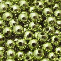 Бусины Акриловые UV Покрытие, Глянцевые, Круглые, Цвет: Желто-зеленый, Диаметр: 10мм, Отверстие 2.5мм, около 50шт/25г, (УТ0005598)