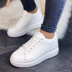Кроссовки женские белые из эко кожи в стиле McQueen. Кросівки жіночі білі