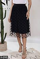 Стильная женская юбка миди в горошек с сеткой, фото 1
