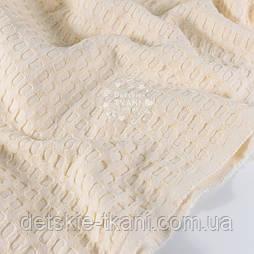 """Ткань """"Бельгийская вафелька"""", цвет молочно-кремовый"""