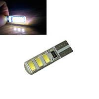 2х LED T10 W5W лампа в автомобіль, 6 SMD 5630 5730 з обманкою, в силіконі