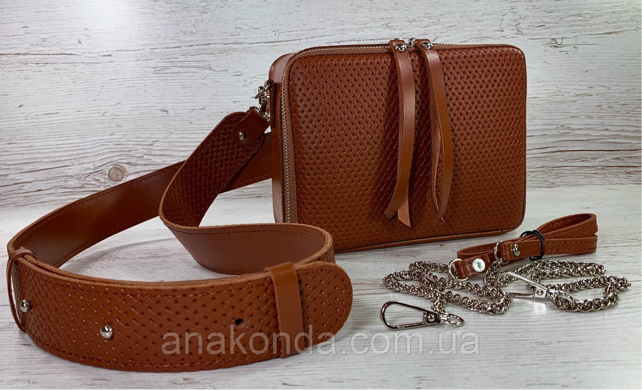 68-52р Натуральная кожа Сумка женская кросс-боди рыжая Кожаная сумка женская через плечо рыжая