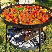 Сковорода (садж) 50 см из диска  с подставкой для огня и крышкой