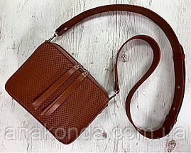 68-52р Натуральная кожа Сумка женская кросс-боди рыжая Кожаная сумка женская через плечо рыжая, фото 2