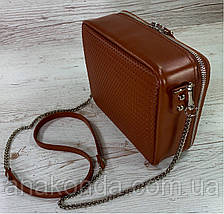 68-52р Натуральная кожа Сумка женская кросс-боди рыжая Кожаная сумка женская через плечо рыжая, фото 3
